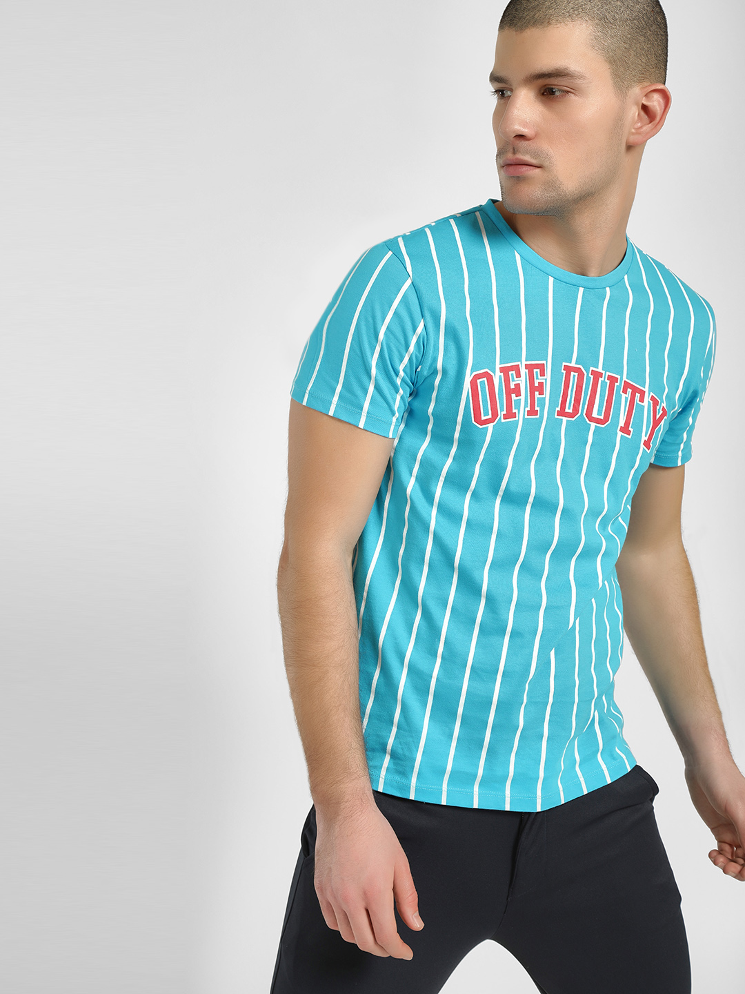 KOOVS Blue Off Duty Baseball T-Shirt 1
