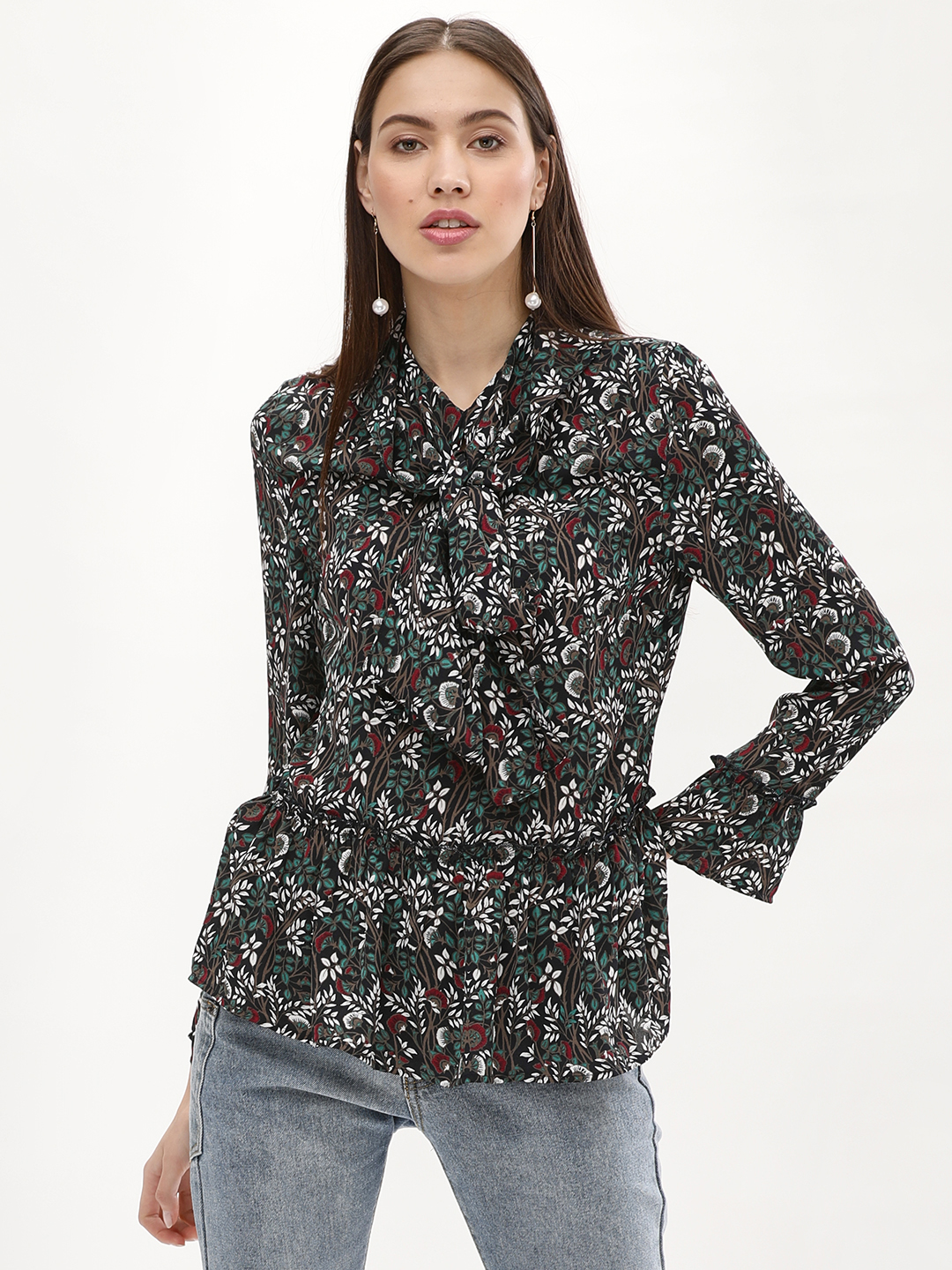 PostFold MIX Printed Tie Detail Peplum Blouse 1
