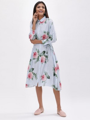 KOOVS Printed Midi Shirt Dress...