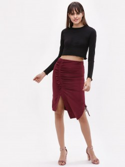 KOOVS Ruched Side Midi Skirt