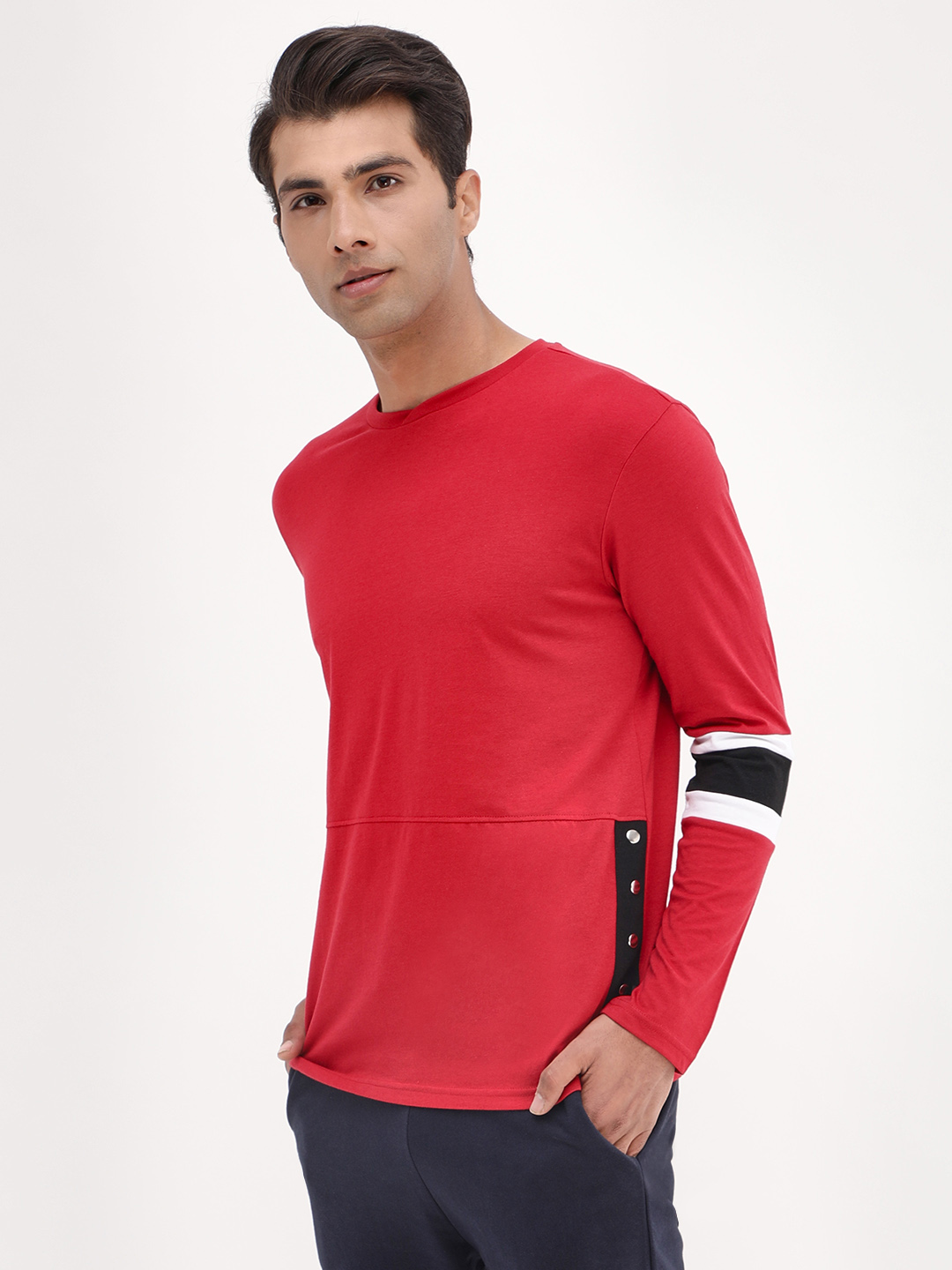 KOOVS Red Side Snap Button T-Shirt 1