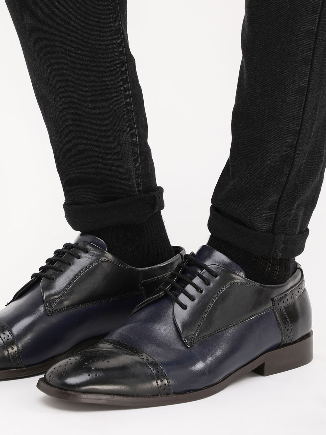 Marcello & Ferri Navy Dual Tone Derby Shoes 1