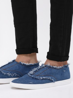 KOOVS Frayed Denim Slip-On Sne...