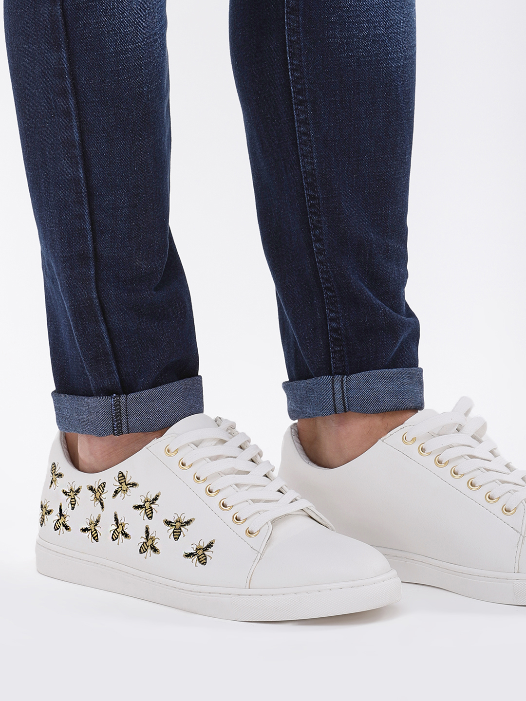 KOOVS White Honey Bee Embroidered Sneakers 1