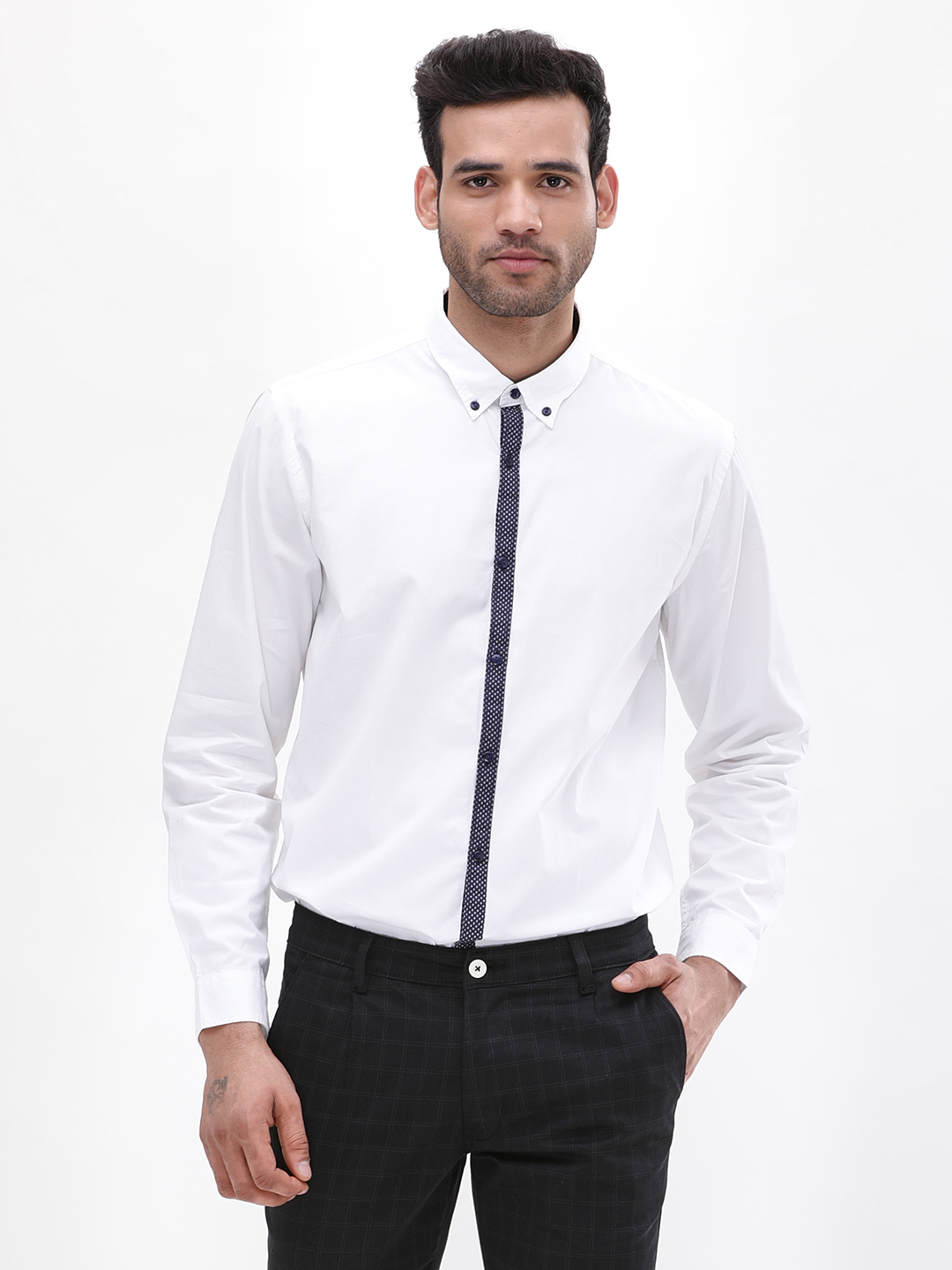 Adamo London White Button Down Collar Shirt With Contrast Placket 1