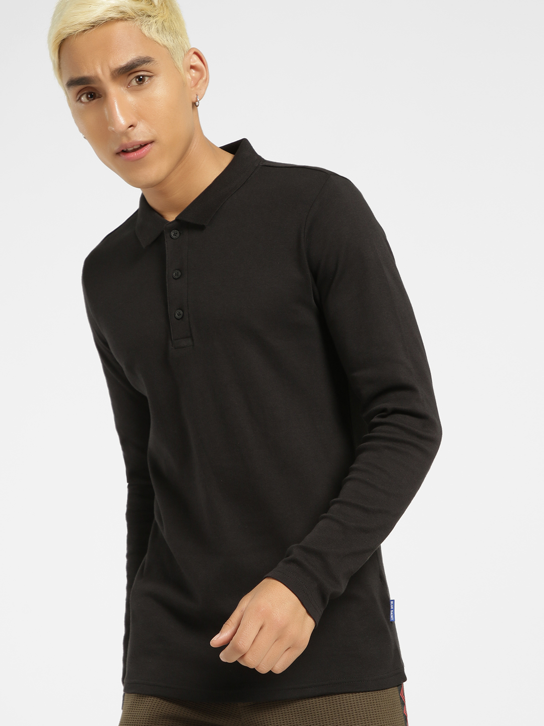 Blue Saint Black Long Sleeve Polo Shirt 1