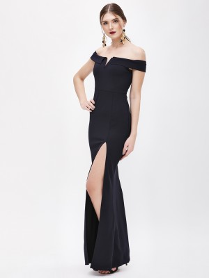 AX PARIS Side Slit Bardot Maxi...