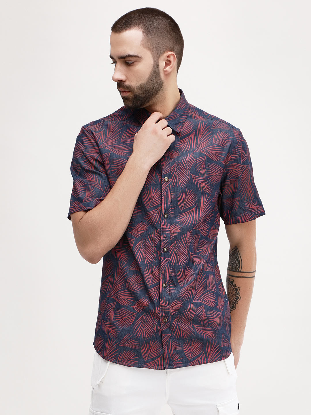KOOVS Multi Palm Print Smart Shirt 1