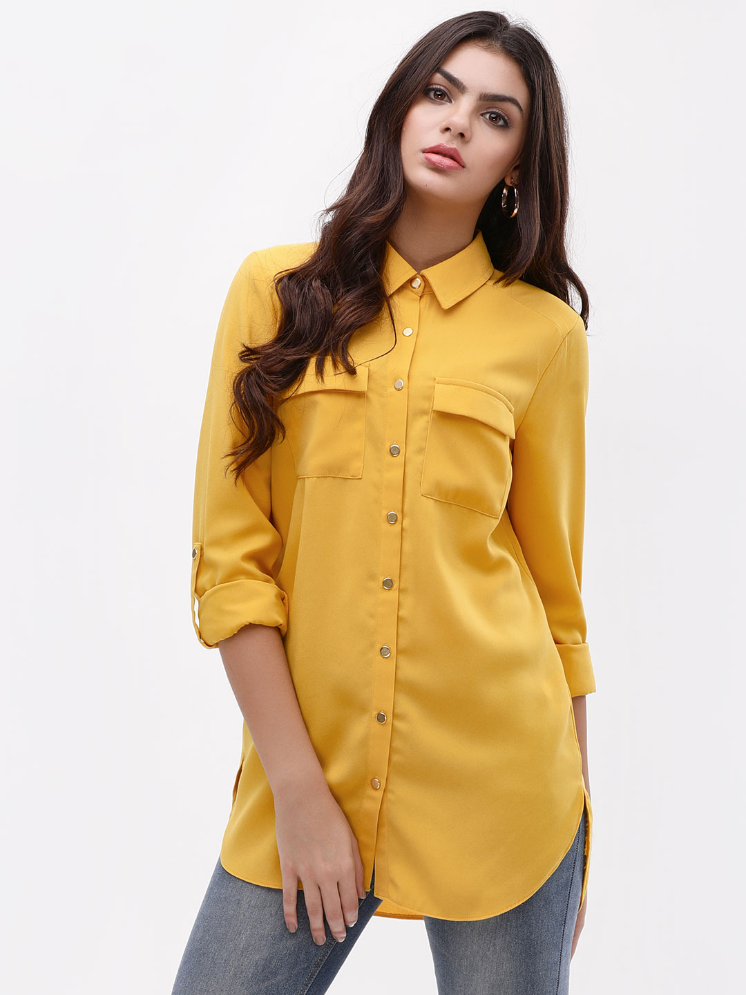 KOOVS OCHRE High Low Workwear Shirt 1