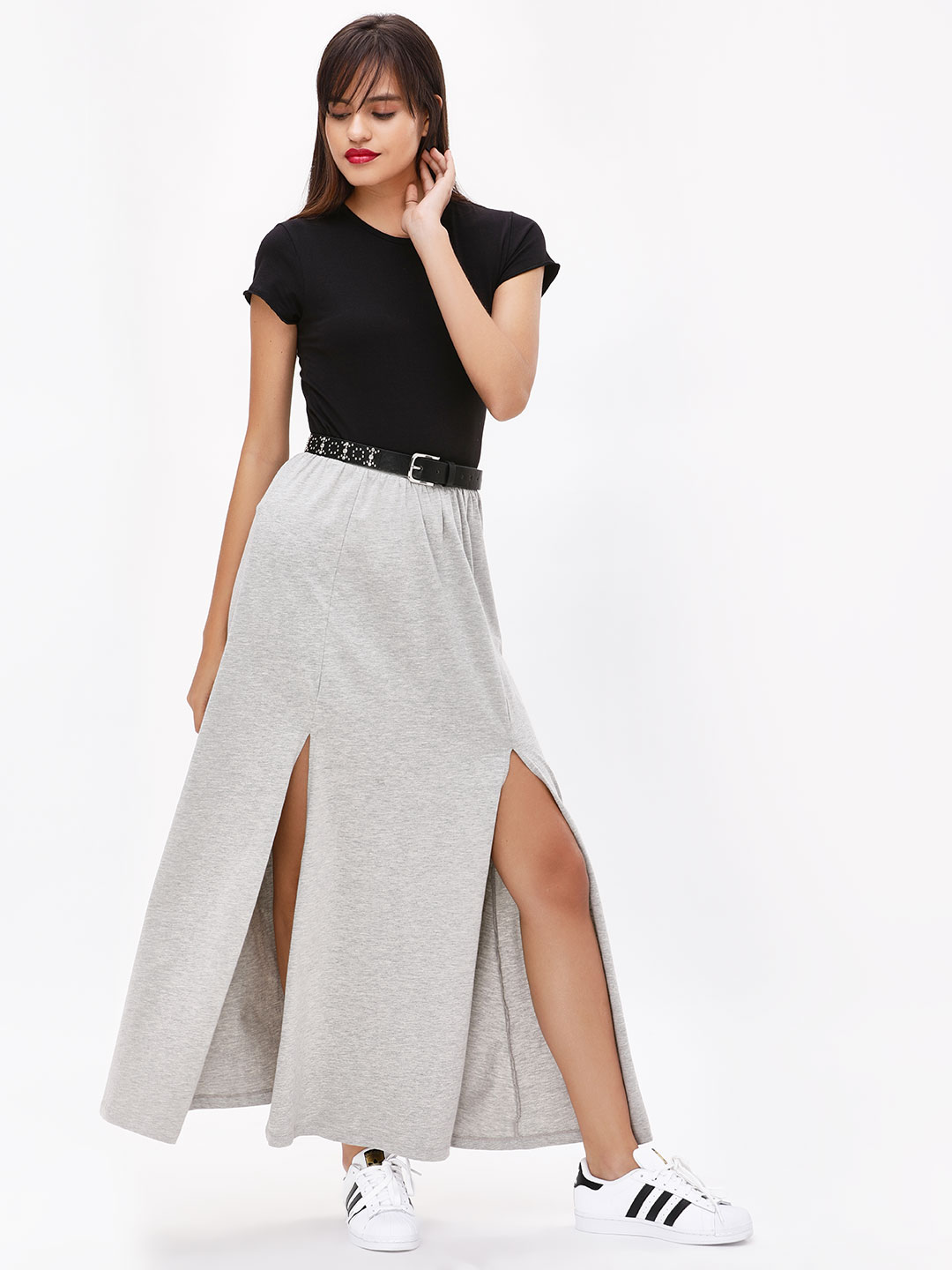 KOOVS Grey Melange High Slit Maxi Skirt 1