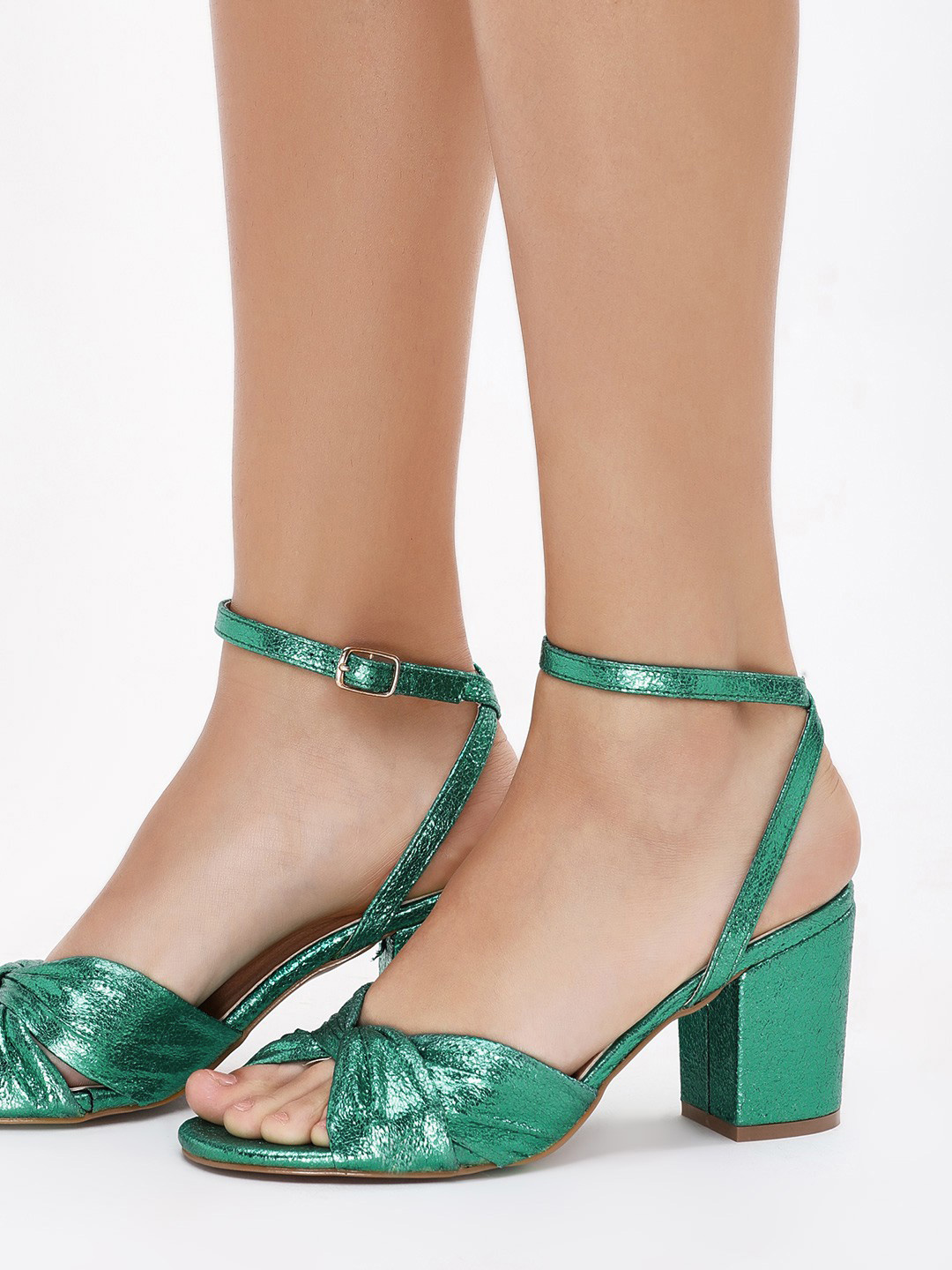 Intoto Green Knotted Metallic Heeled Sandals 1