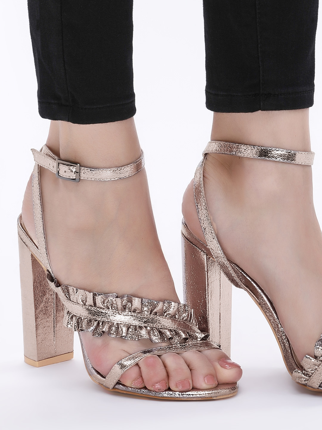 Intoto Pewter Ruffled Cross Strap Heeled Sandals 1
