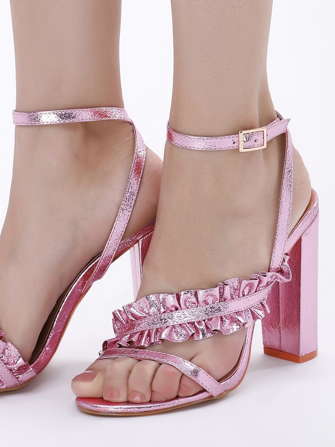 Intoto Pink Metallic Ruffled Cross Strap Heeled Sandals 1