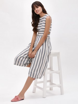 KOOVS Striped Cutout Culotte J...