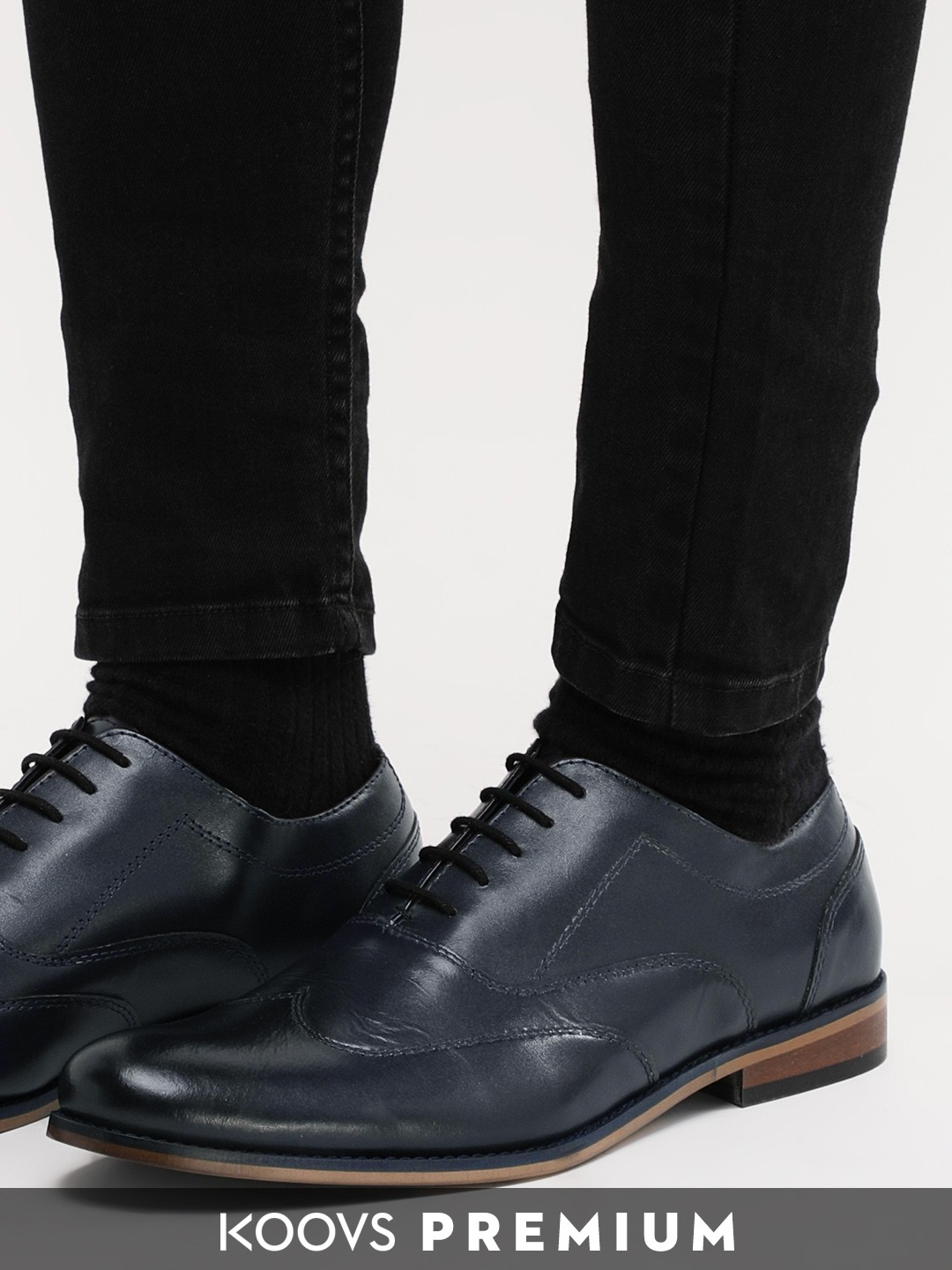 KOOVS Navy Leather Oxford Shoes 1