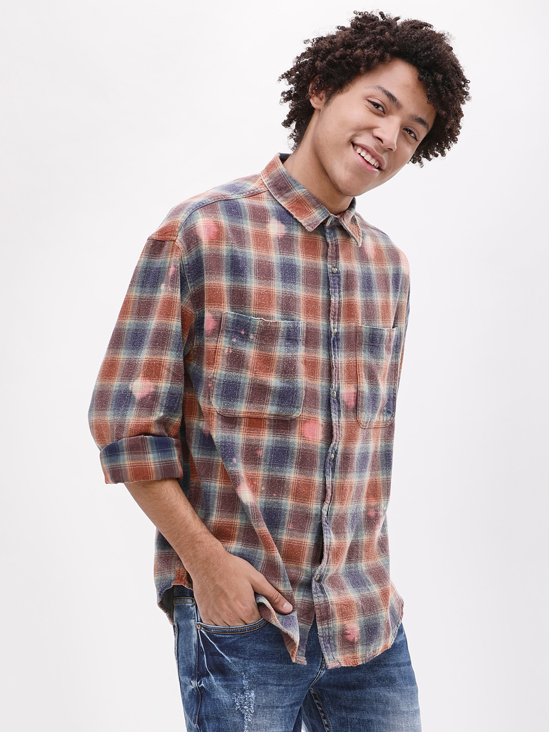 Adamo London Brown Washed Check Shirt 1