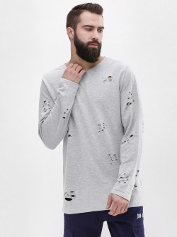 Adamo London Melange Ripped Longline Sweatshirt