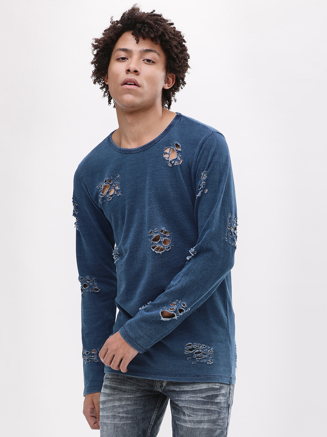 Adamo London Indigo Distressed Sweatshirt 1