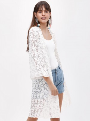 KOOVS Embroidered Mesh Longlin...