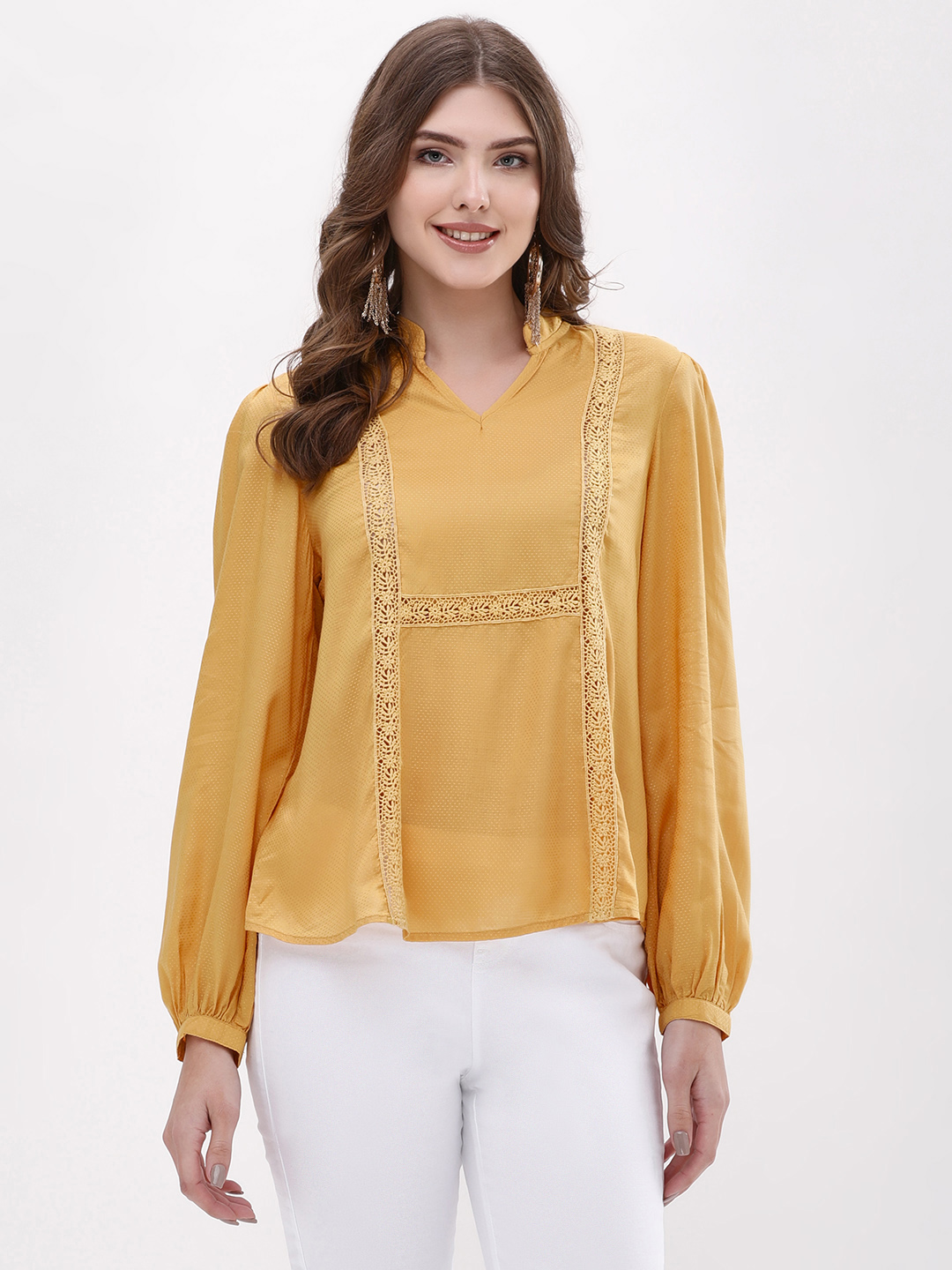 Blue Sequin Yellow Mandarin Collar Lace Insert Blouse 1