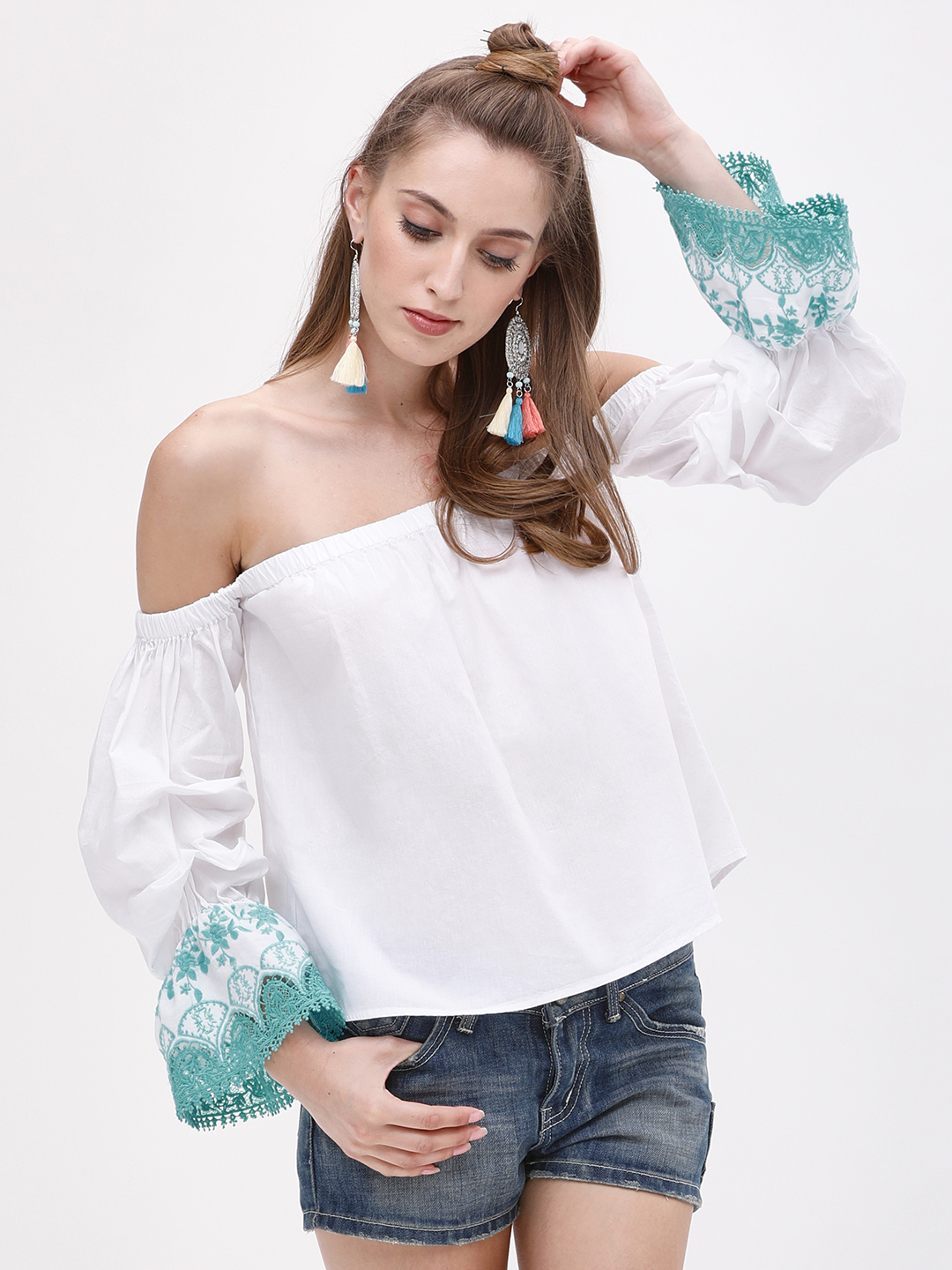 Kisscoast White/Blue Embroidered Ruched Sleeve Off Shoulder Top 1