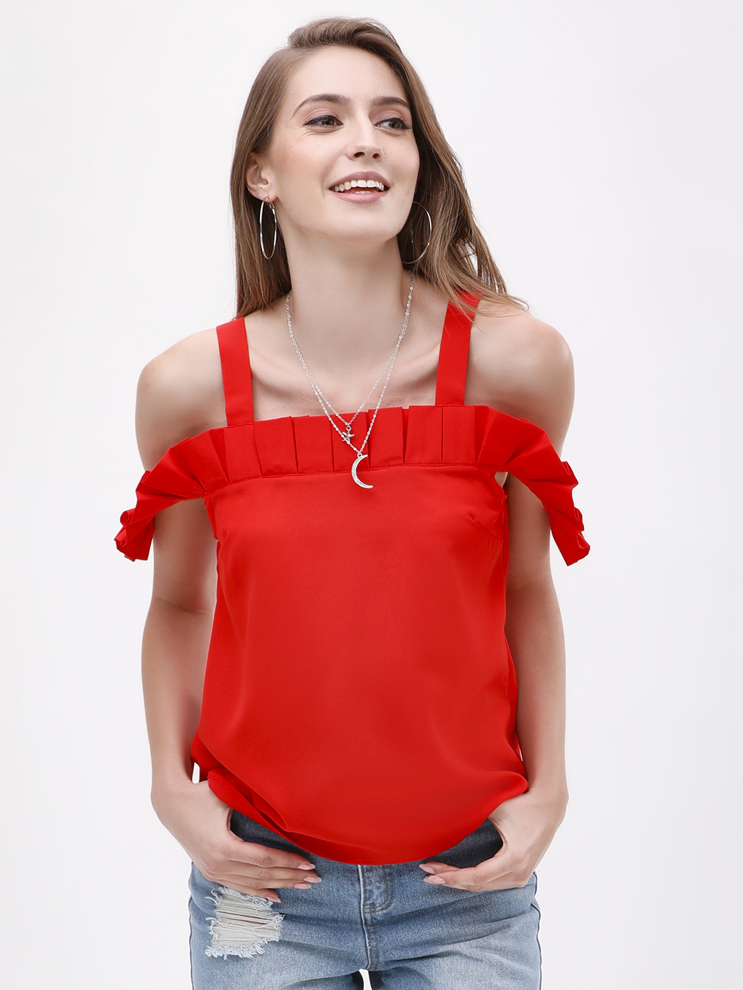 Noble Faith Red Box Pleat Cold Shoulder Top 1