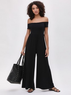Catwalk88 Leslie Off Shoulder Wide Leg Jumpsuit