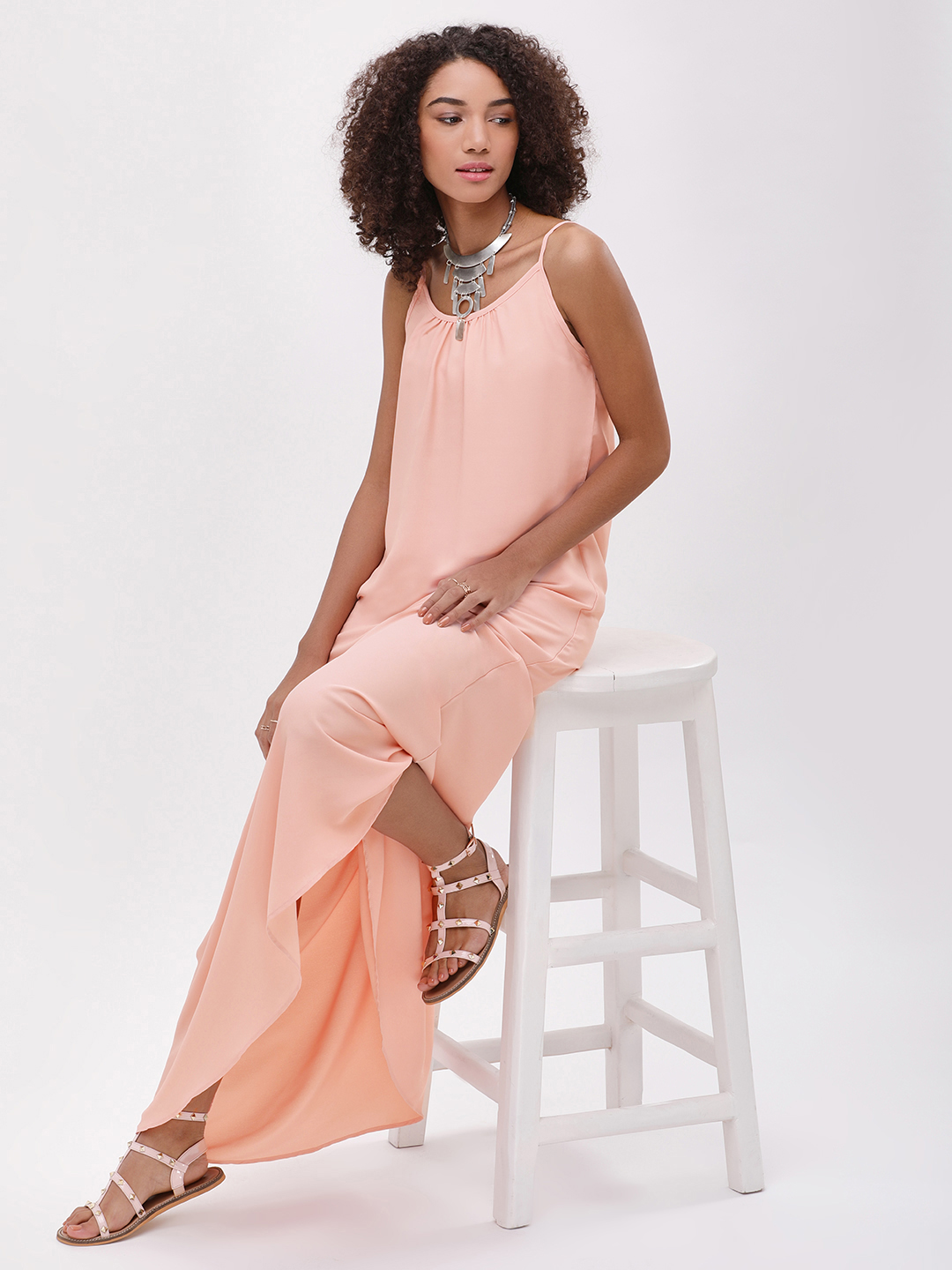 Catwalk88 Peach/Nude lining Cami Straps Maxi Dress 1