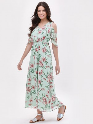 OLIV Floral Cold Shoulder Maxi...