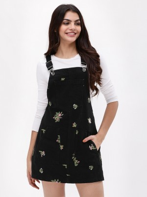 K DENIM Floral Embroidered Dun...