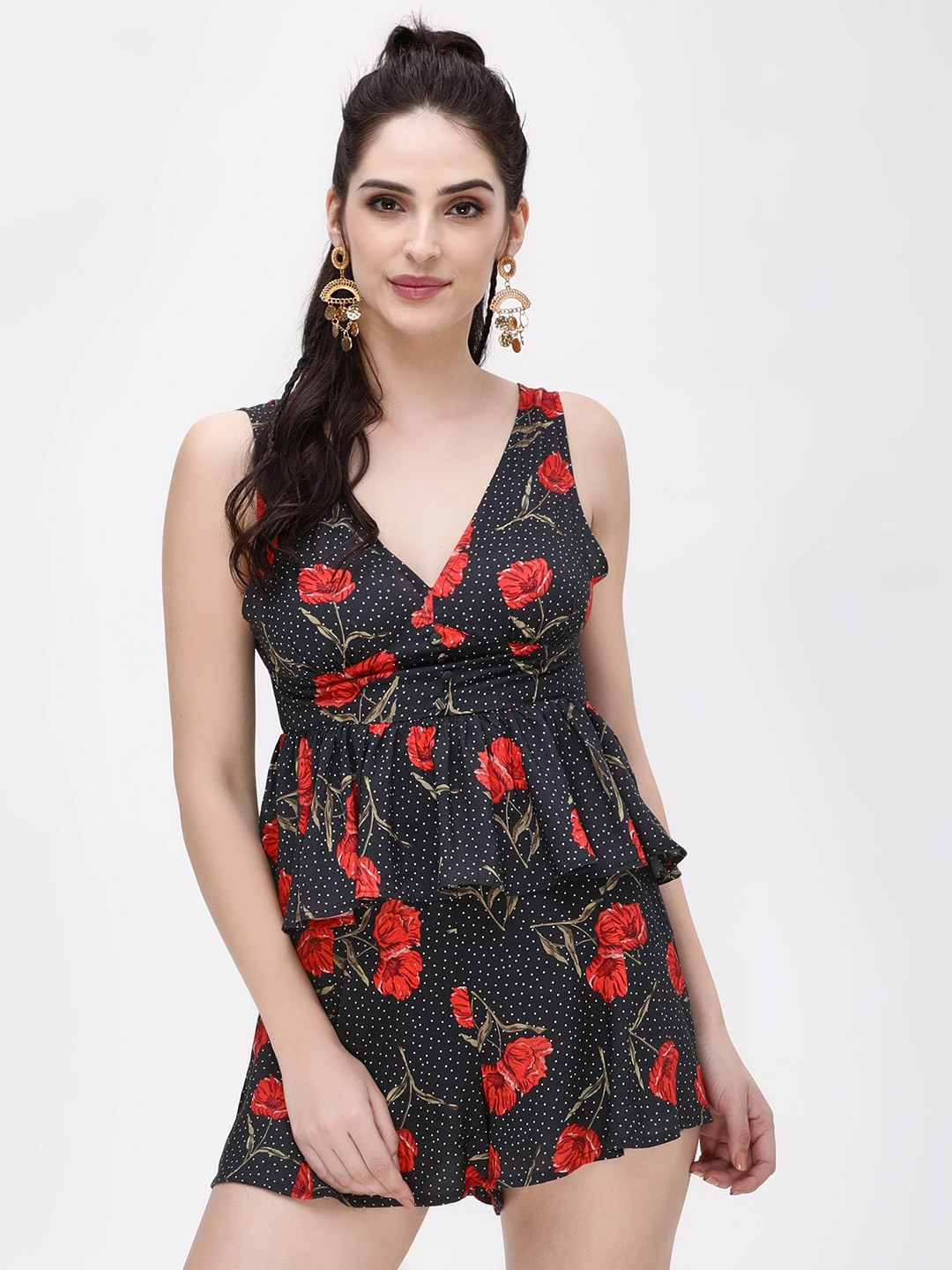 KOOVS Multi Poppy Print Peplum Top 1
