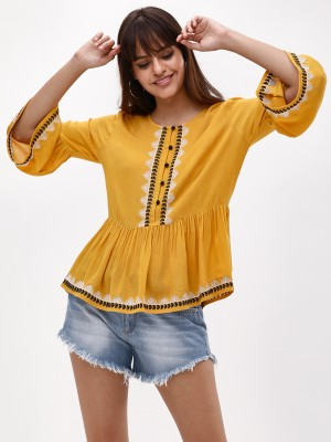 KOOVS Embroidered Button Front...