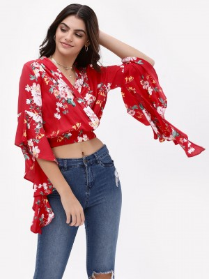 KOOVS Floral Wrap Crop Top...