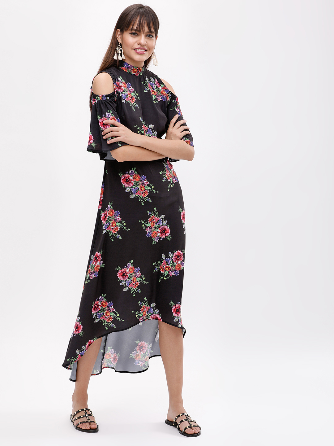 KOOVS Multi Floral Cold Shoulder Dress 1