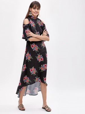 KOOVS Floral Cold Shoulder Dre...
