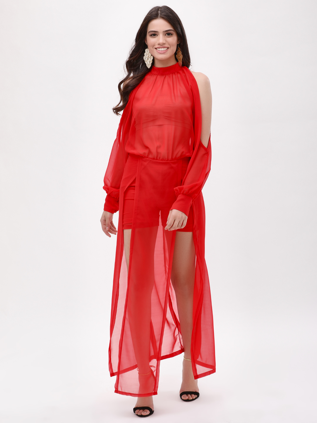 KOOVS Red Front Slit Maxi Dress 1