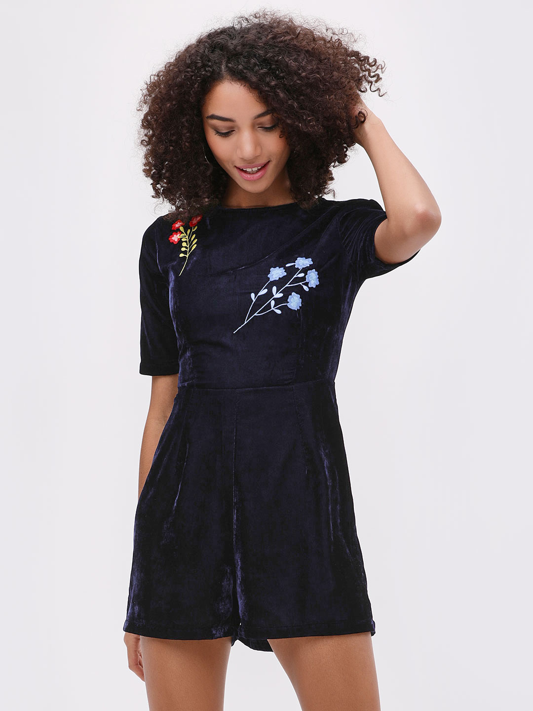 Beyond Clouds Blue Velvet Embroidered Playsuit 1
