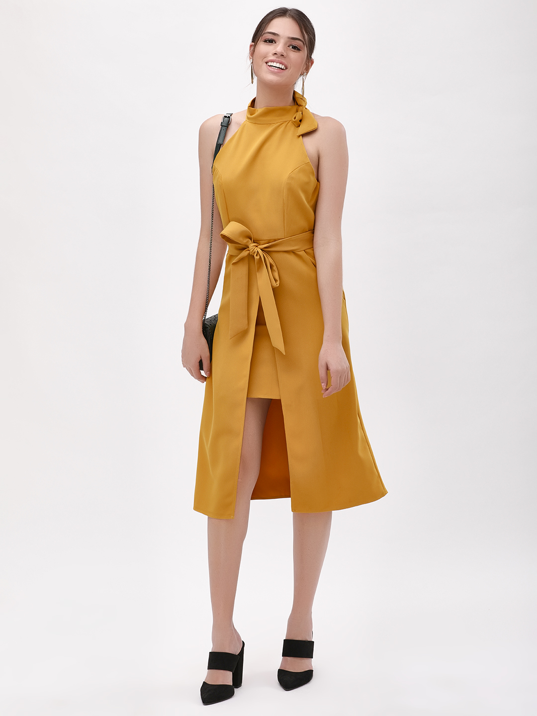 KOOVS ochre yellow Bow Tie Midi Dress 1