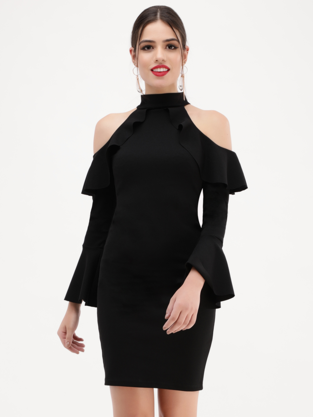 KOOVS Black Ruffle Cold Shoulder Dress 1