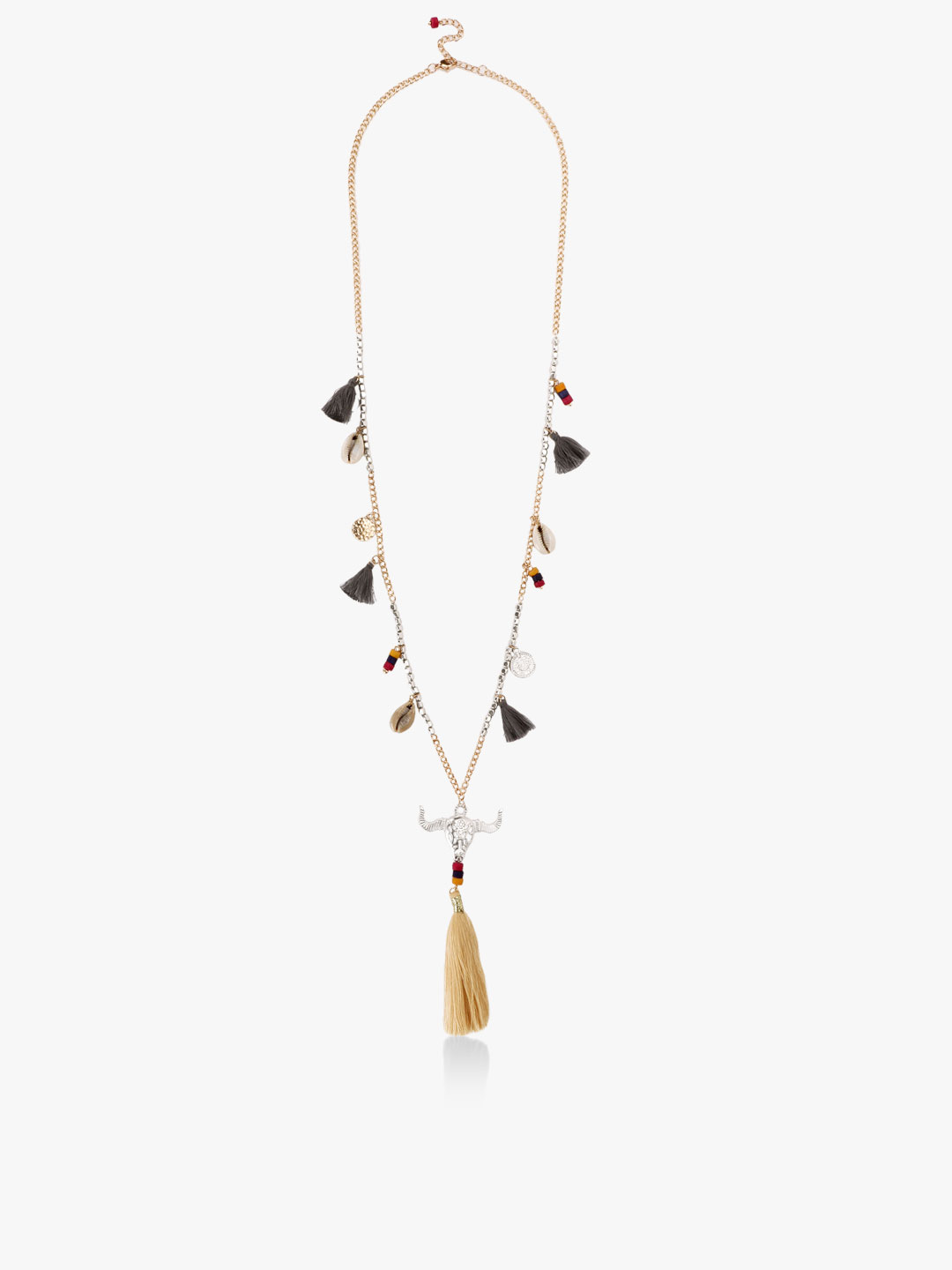 Blueberry Multi Tassel And Shell Necklace 1