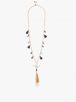 Blueberry Tassel And Shell Necklace