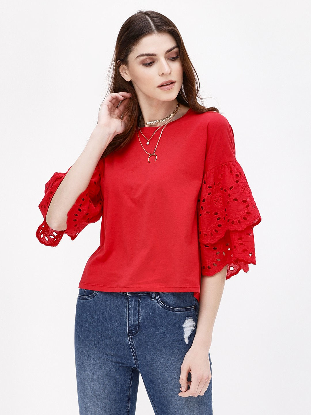 KOOVS Red Broderie Trim Sleeve T-Shirt 1