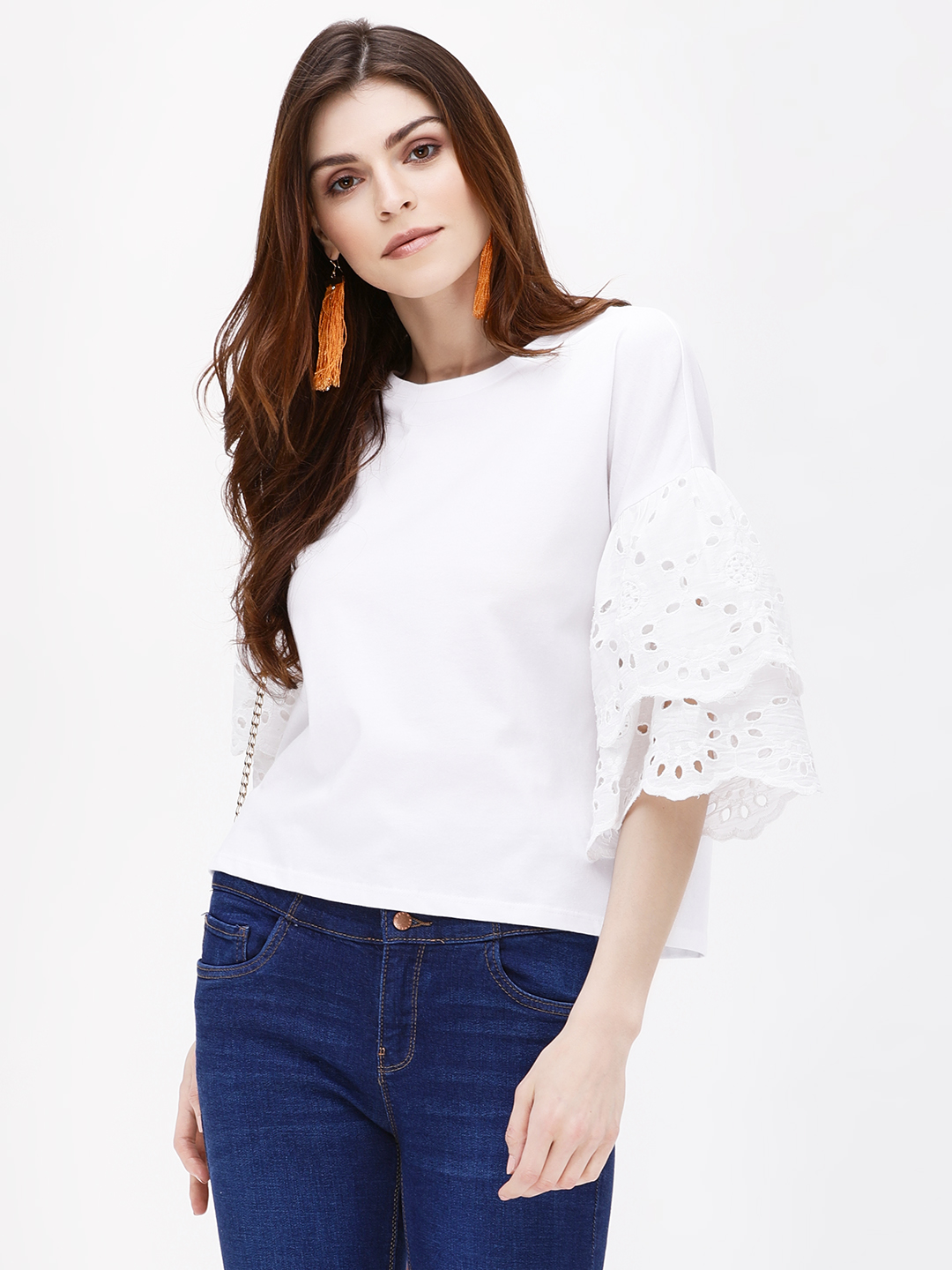 KOOVS White Broderie Trim Sleeve T-Shirt 1