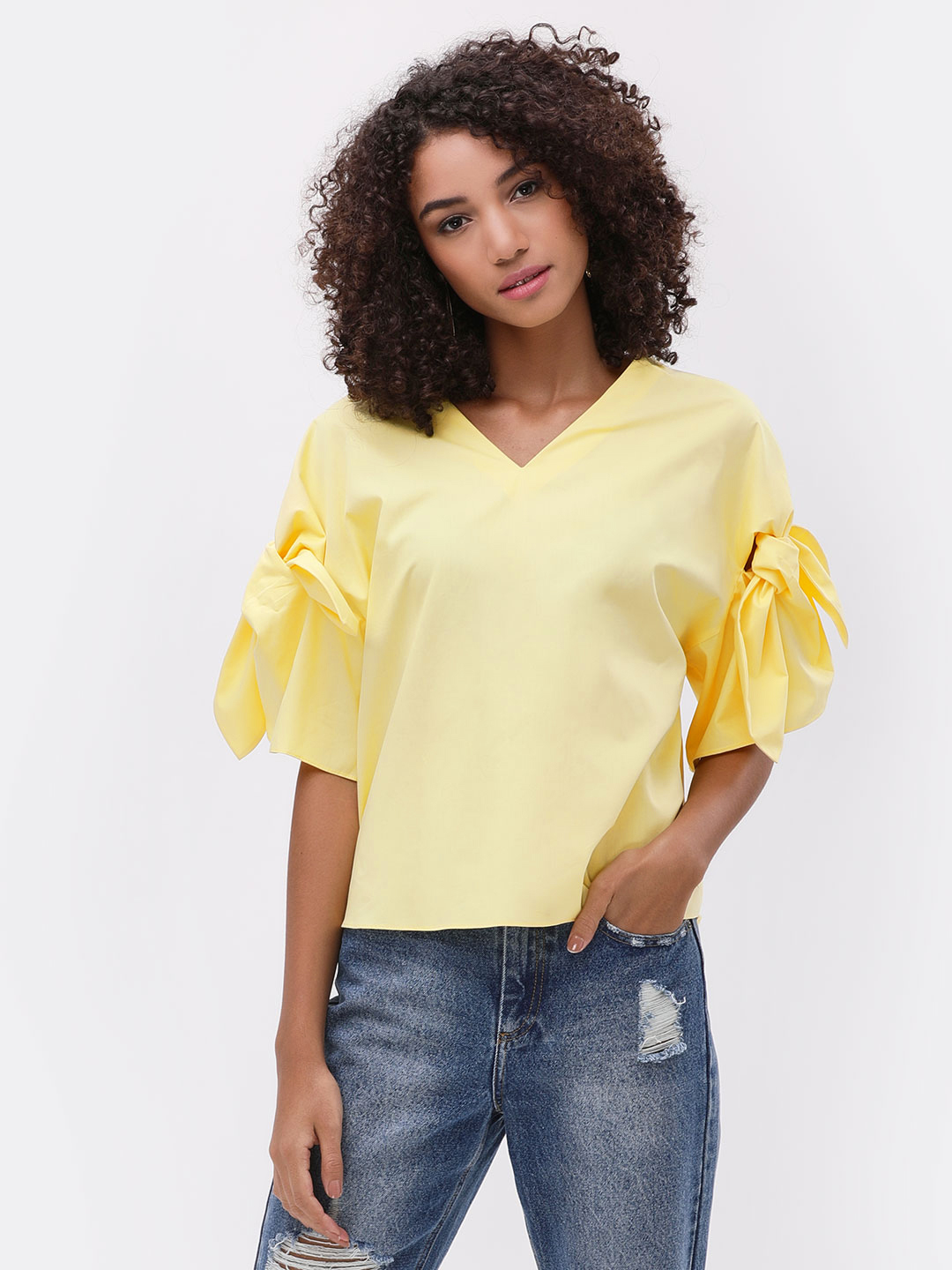 Cover Story Pale yellow Knot Sleeve Blouse 1