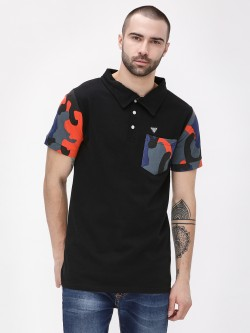 Styx & Stones Polo Shirt With Camo Sleeve & Pocket