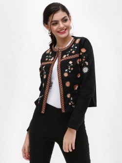 New Look Floral Embroidered Trophy Jacket
