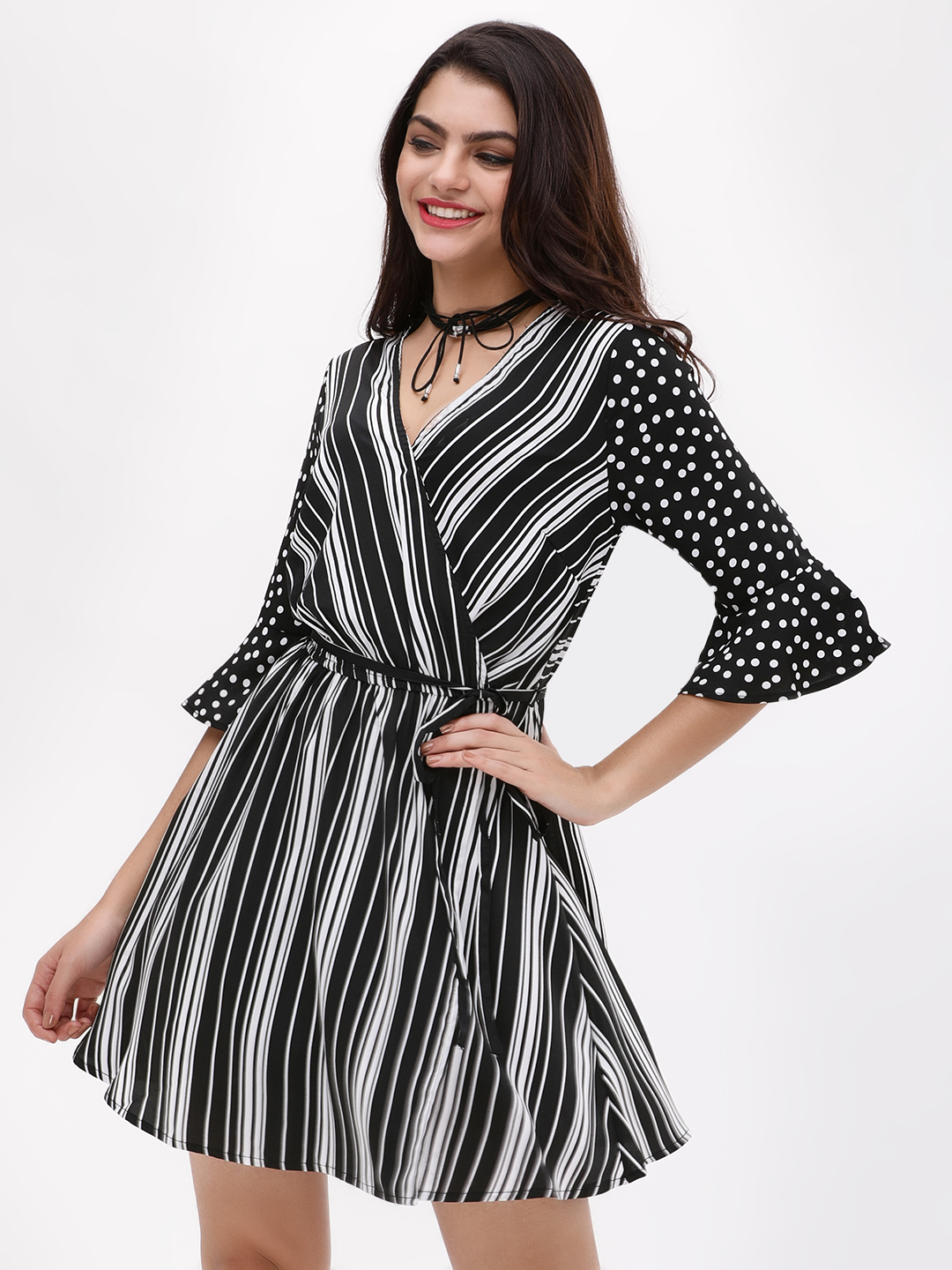New Look BLACK PATTERN Stripe And Spot Wrap Dress 1