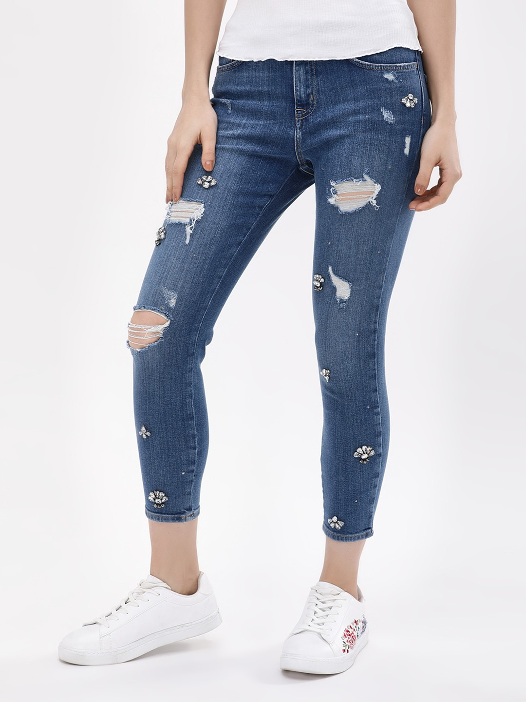 New Look Mid Blue Embellished Distressed Skinny Jeans 1