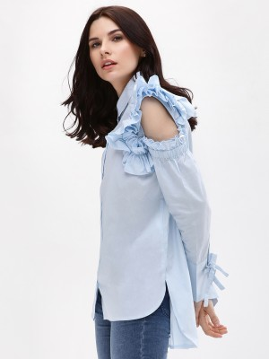 KOOVS Ruffle Cold Shoulder Shi...