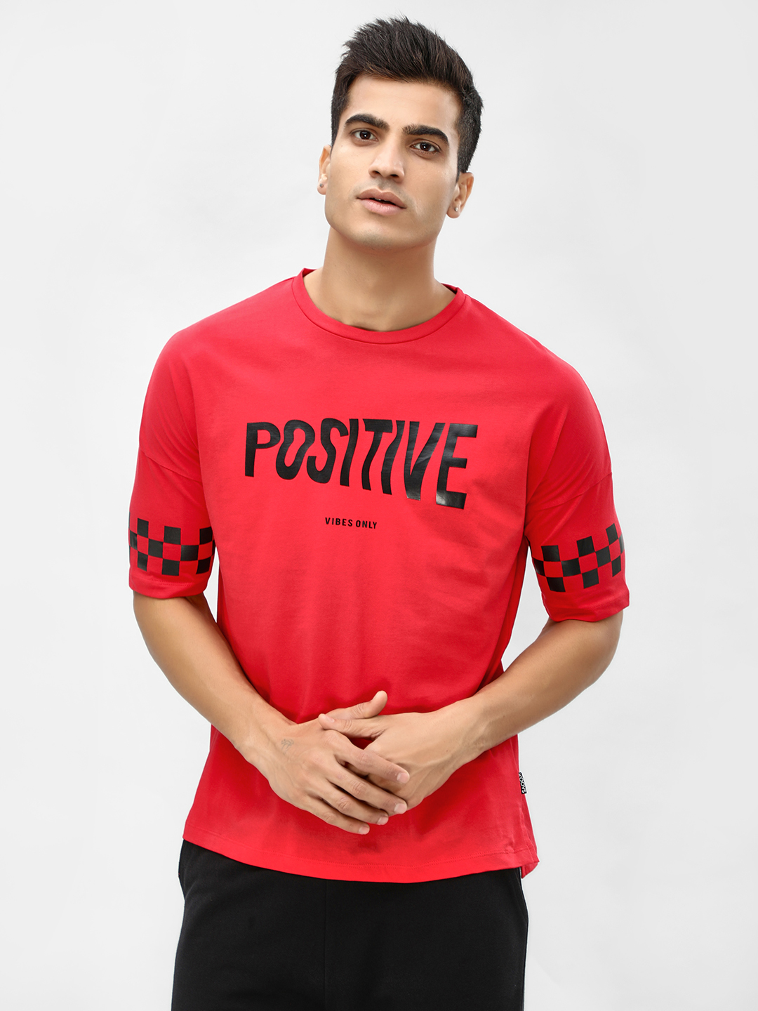 KOOVS Red Slogan Printed Oversized T-Shirt 1